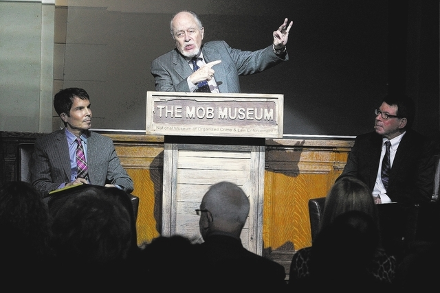 "G. Robert Blakey, center, speaks during ""JFK: An Inside look a the Assassination of a President 50 years later,"" at the Mob Museum in downtown Las Vegas Thursday, Nov. 7, 2013. Blakey le ..."