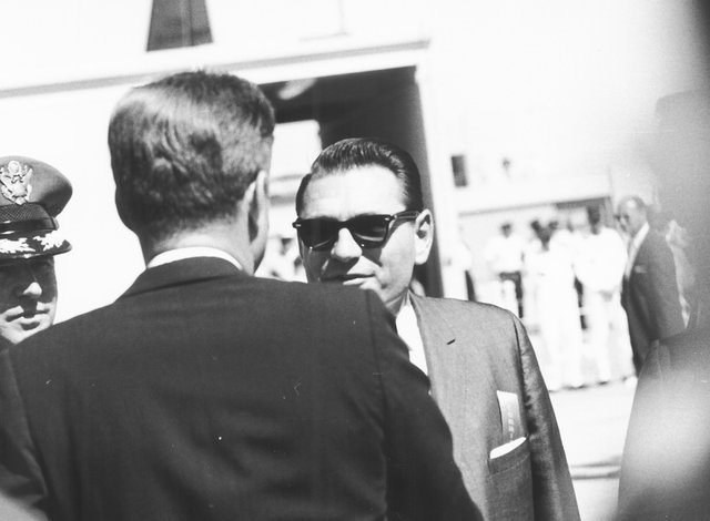 01560: Clark County Commissioner Louis F. LaPorta welcomes President John F. Kennedy to Las Vegas, September 28, 1963. Kennedy was in town to deliver a speech at the Las Vegas Convention Center. K ...