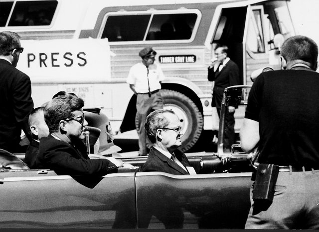 01545: President John F. Kennedy en route to the Las Vegas Convention Center, September 28, 1963, where he delivered a speech. Kennedy's remarks at the event can be found at http://www.presidency. ...