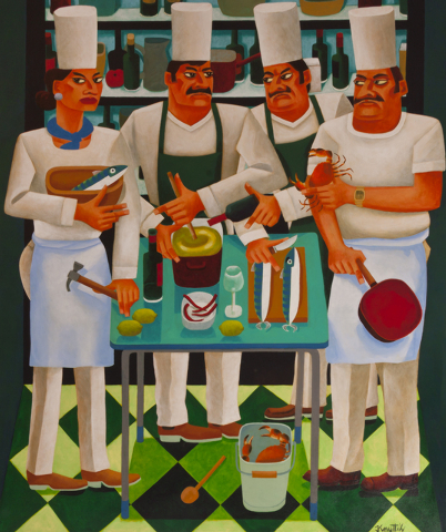 """Too Many Chefs"" by Irish artist Graham Knuttel, who just opened a gallery in the Grand Canal Shoppes"