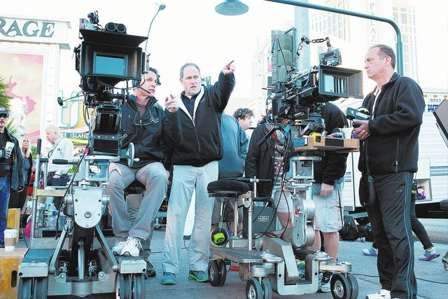 """Last Vegas"" director Jon Turteltaub, center, works on setting up a scene while filming in downtown Las Vegas. (Courtesy)"