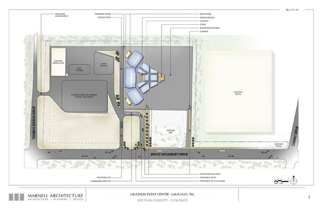 Laughlin Event Center, site plan concept- 9,358 seats. Submitted Nov. 6, 2013. (Courtesy Marnell Architecture)