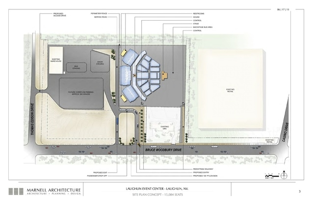 Laughlin Event Center, site plan concept- 15,084 seats. Submitted Nov. 6, 2013. (Courtesy Marnell Architecture)