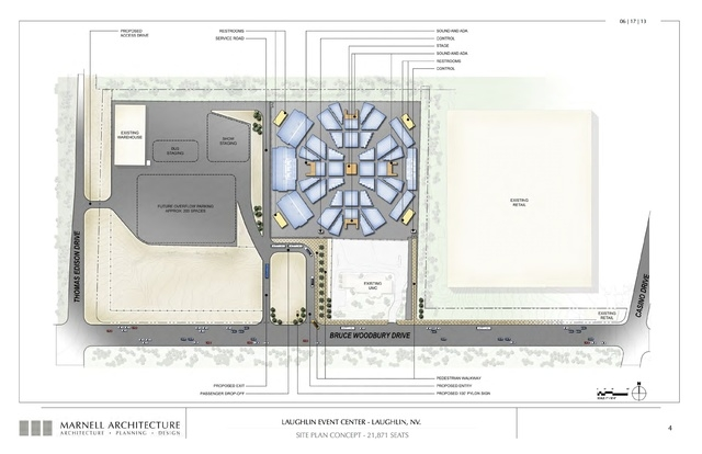 Laughlin Event Center, site plan concept- 21,871 seats. Submitted Nov. 6, 2013. (Courtesy Marnell Architecture)