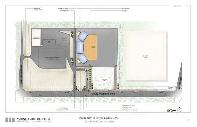 Laughlin Event Center, site plan concept- 5,763 seats. Submitted Nov. 6, 2013. (Courtesy Marnell Architecture)