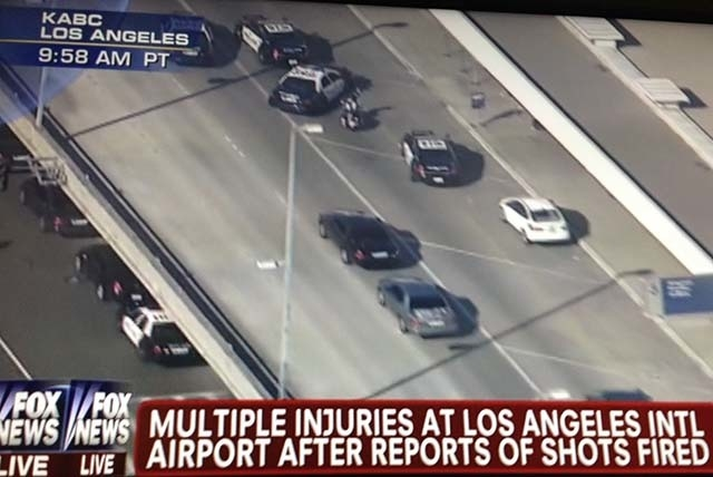 This image from KABC, Los Angeles, shown on Fox News shows emergency vehicles that have responded to reports of a shooting at Los Angeles International Airport on Friday.