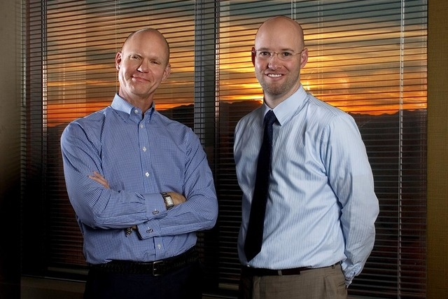 From left, CEO Tom Skancke and COO Jonas Peterson of LVGEA (Las Vegas Global Economic Alliance) are pictured at their office located at 6795 Edmond St., in Las Vegas on Wednesday, Nov. 6, 2013. (J ...
