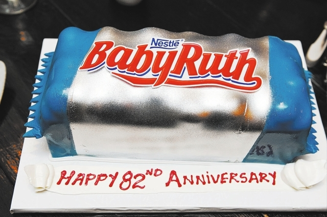A BabyRuth design cake is seen during dinner  at Pasta Cucina restaurant where the Owings celebrated their 82nd wedding anniversary on Tuesday, Nov. 26, 2013. Harold began sharing his affection fo ...