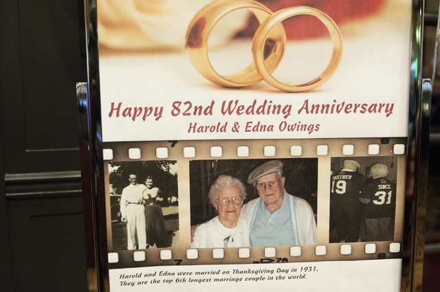 A sign outside of Pasta Cucina restaurant inside Palace Station hotel-casino in Las Vegas announces the 82nd anniversary of the Owings on Tuesday, Nov. 26, 2013. (Erik Verduzco/Las Vegas Review-Jo ...