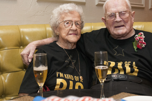 Edna Owings, 101, and her husband Harold, 102, pose for a photo during their 82nd wedding anniversary dinner at Pasta Cucina restaurant inside Palace Station hotel-casino in Las Vegas on Tuesday,  ...