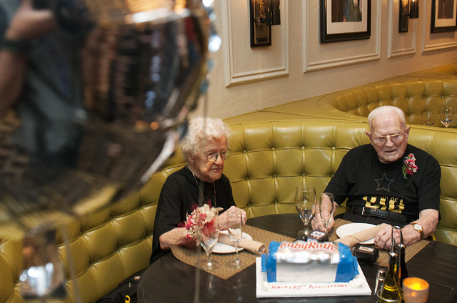 Edna Owings, 101, and her husband Harold, 102, celebrate their 82nd wedding anniversary at Pasta Cucina restaurant inside Palace Station hotel-casino in Las Vegas on Tuesday, Nov. 26, 2013. (Erik  ...
