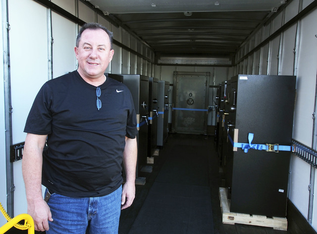 Retired Las Vegas Metro Captain James J. Dillon, Jr., stands in the Mobile Showroom at his new business, Discount Gun Safe Warehouse, in Las Vegas, Wednesday, Nov. 13, 2013.  (Jerry Henkel/Las Veg ...