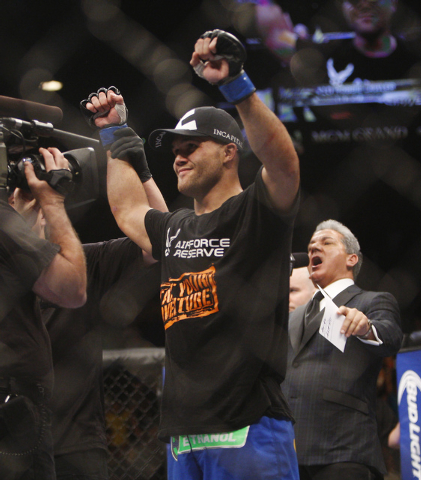 Robbie Lawler celebrates his victory over Rory MacDonald during UFC 167 at the MGM Grand Garden Arena in Las Vegas on Nov. 16, 2013. (Jason Bean /Las Vegas Review-Journal)