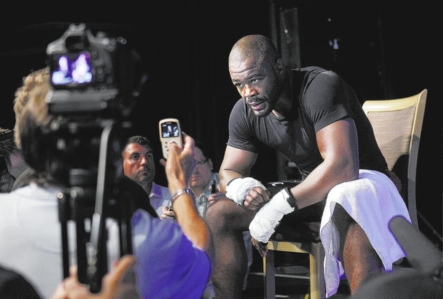 Fighter Rashad Evans speaks to the press during a media workout session for UFC 167 in the Hollywood Theater at the MGM Grand in Las Vegas on Nov. 13, 2013. (Jason Bean /Las Vegas Review-Journal)