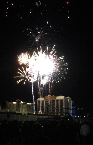 Fireworks explode above the New Frontier Hotel-Casino moments before it was imploded on Tuesday, Nov. 13, 2007. (Mark Damon/Special to the Las Vegas Review-Journal)