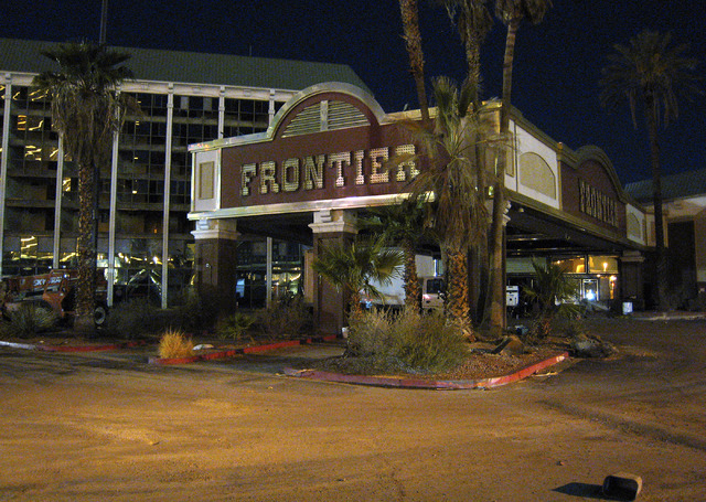 The entry facade of the New Frontier Hotel-Casino is seen earlier in the evening before it was imploded on Tuesday, Nov. 13, 2007. (Mark Damon/Special to the Las Vegas Review-Journal)