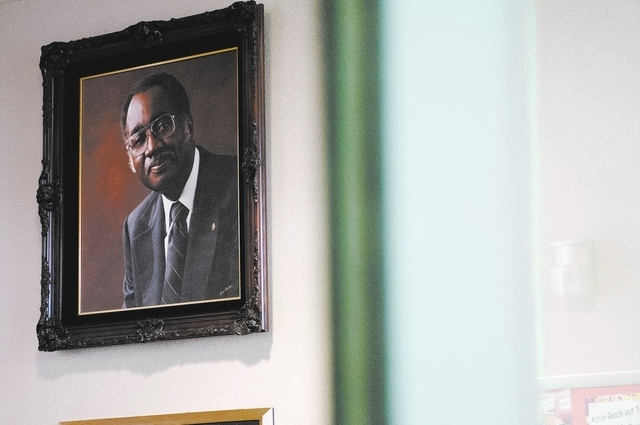 A painting of longtime community activist Dr. William U. Pearson is seen on the wall at a community center named after him in North Las Vegas, Saturday, Nov. 23, 2013. (Erik Verduzco/Las Vegas Rev ...
