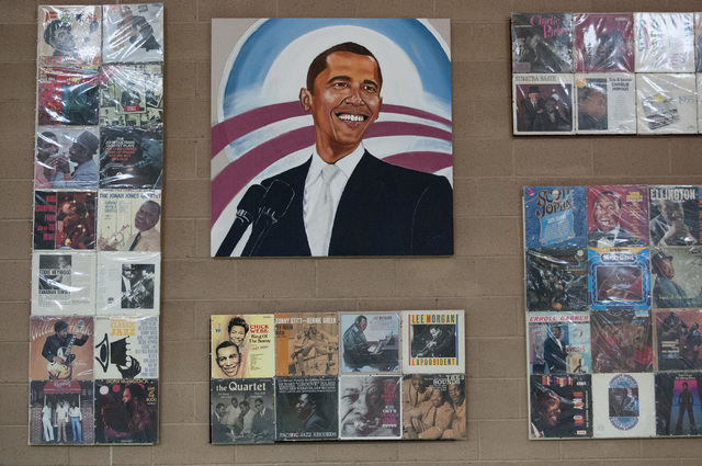 A painting of President Barack Obama is seen on the wall at William U. Pearson Community Center in North Las Vegas, Saturday, Nov. 23, 2013. The center was named after longtime community activist  ...