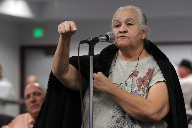 Mary Alice Esparza of North Las Vegas makes a point during a public meeting with Department of Energy officials at Cashman Center in downtown Las Vegas Wednesday, Nov. 13, 2013. The DOE plans to h ...