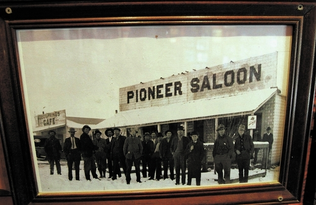 An archival photo is on display at the Pioneer Saloon in Goodsprings. (Jason Bean/Las Vegas Review-Journal)