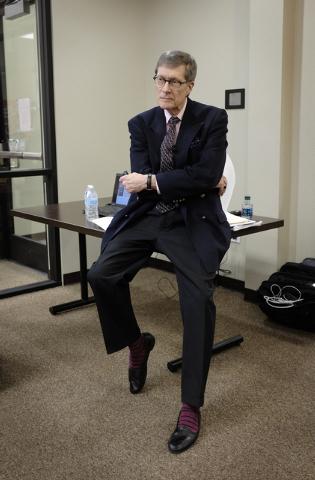John N. Gardner prepares to speak to students at faculty at Nevada State College in Henderson, Nev. Thursday, Nov. 14, 2013. (John Locher/Las Vegas Review-Journal)