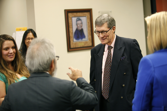 John N. Gardner meets with students at faculty at Nevada State College in Henderson, Nev. Thursday, Nov. 14, 2013. Student Brianna Santiago is on the left. (John Locher/Las Vegas Review-Journal)
