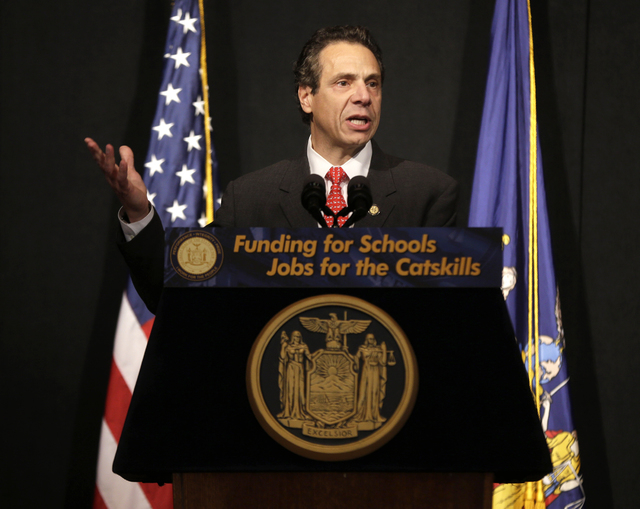 New York State Governor Andrew Cuomo speaks during a news conference in Bethel, N.Y., Wednesday, Nov. 6, 2013. Cuomo was there to speak about the vote that approved an amendment to the state const ...