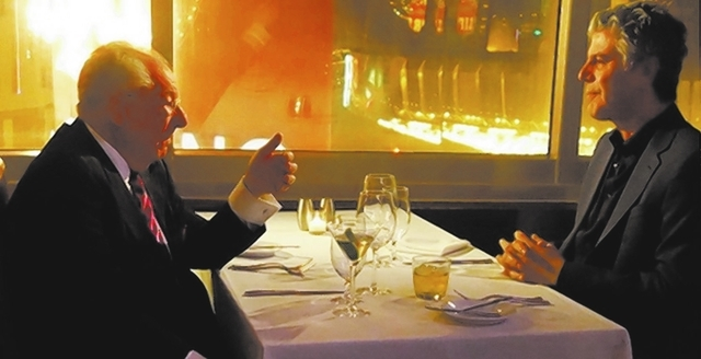 Anthony Bourdain, right, interviews former Las Vegas Mayor Oscar Goodman on Sunday at Oscar's Beef Booze Broads Steakhouse. (Norm Clarke/Las Vegas Review-Journal)