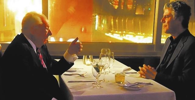 Anthony Bourdain, right, interviews former Las Vegas Mayor Oscar Goodman on Monday at Oscar's Beef Booze Broads Steakhouse. (Norm Clarke/Las Vegas Review-Journal)