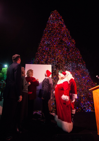 Mayor Carolyn Goodman, left, in red, flips the switch to light the tree at the Magical Forest at Opportunity Village in Las Vegas on Friday. (Chase Stevens/Las Vegas Review-Journal)