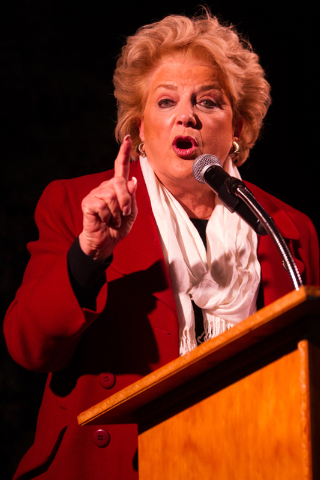 Mayor Carolyn Goodman addresses the crowd before flipping the switch to light the tree at the Magical Forest at Opportunity Village in Las Vegas on Friday. (Chase Stevens/Las Vegas Review-Journal)