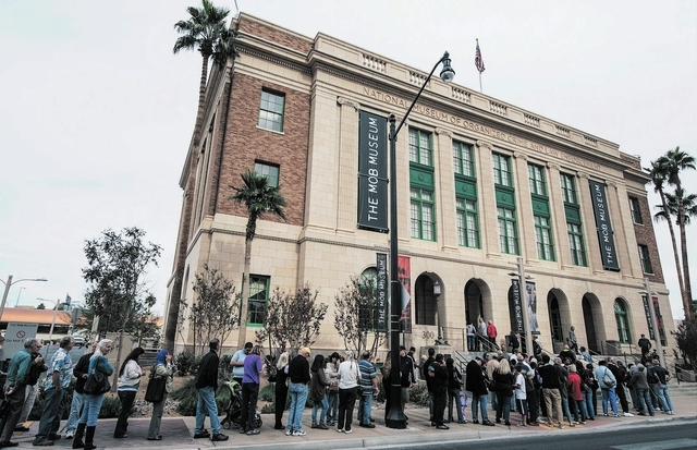 Patrons line up outside the Mob Museum for the 2012 Kefauver Day promotion. (Special to View)
