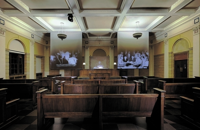 The Mob Museum offers free admission each year on Nov. 15, the anniversary of the Kefauver Committee hearings, which took place in the courtroom, now restored as a showpiece in the museum. (Specia ...
