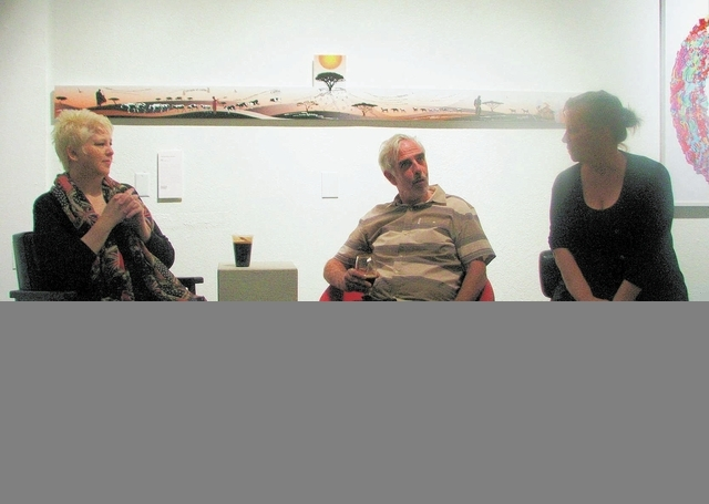From left, artists Ginger Bruner and Anthony Bondi speak with Trifecta Gallery co-owner Marty Walsh during a Sept. 26 One Night Only program. The discussions are offered Thursdays. (F. Andrew Tayl ...