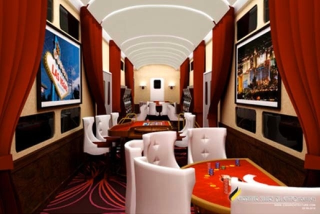 An artist's rendering shows an entertainment car on what would have been part of Las Vegas Railway Express' planned X Train. (Courtesy image)