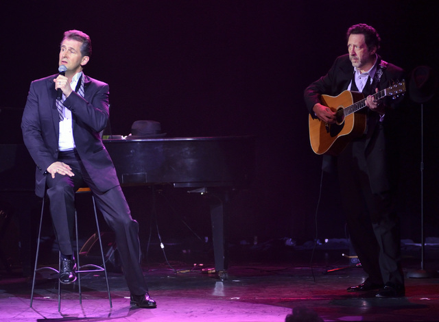 """Ted Keegan, left, and Joey Singer perform in """"The Phat Pack"""" at the Plaza Showroom in the Plaza hotel-casino at 1 S. Main St. in Las Vegas, Friday, Dec. 14, 2012. (Bill Hughes/Las Vegas  ..."""