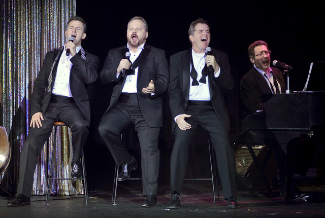 """Performing in """"The Phat Pack"""" are, from left, Ted Keegan, Randal Keith, Bruce Ewing and Joey Singer in the Plaza Showroom at the Plaza hotel-casino at 1 S. Main St. in Las Vegas, Friday, ..."""