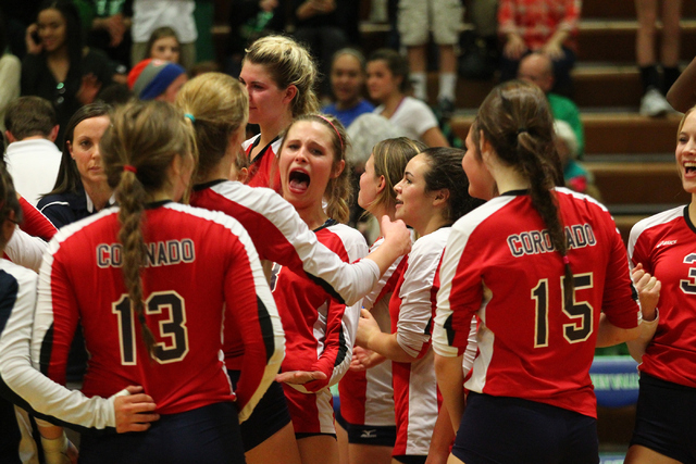Coronado celebrate as their team defeats Palo Verde in the championship game of the Division I Girls Volleyball State Tournament at Green Valley High School in Henderson on Saturday, Nov. 16, 2013 ...