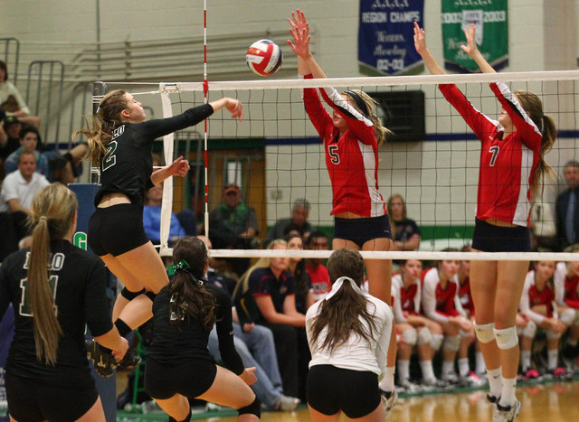 Palo Verde's Lexi Riggs (2) attacks Coronado during the championship game of the Division I Girls Volleyball State Tournament at Green Valley High School in Henderson on Saturday, Nov. 16, 2013. ( ...