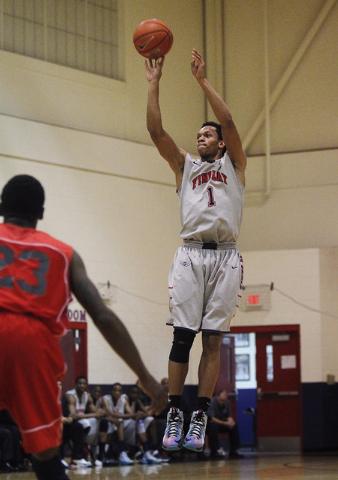 Findlay Prep's Rashad Vaughn (1) shoots a three-point shot in front of Planet Athlete's Tashawn Robinson (23) on Wednesday. (Jason Bean /Las Vegas Review-Journal)