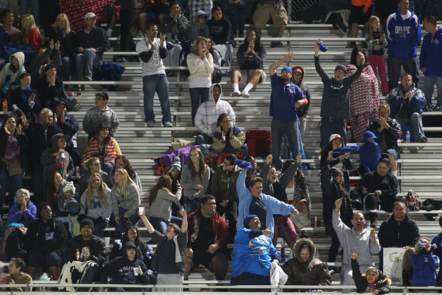 Basic fans cheer as their team leads against Coronado during a game at Basic High School in Henderson on Friday, Nov. 1, 2013. (Chase Stevens/Las Vegas Review-Journal)