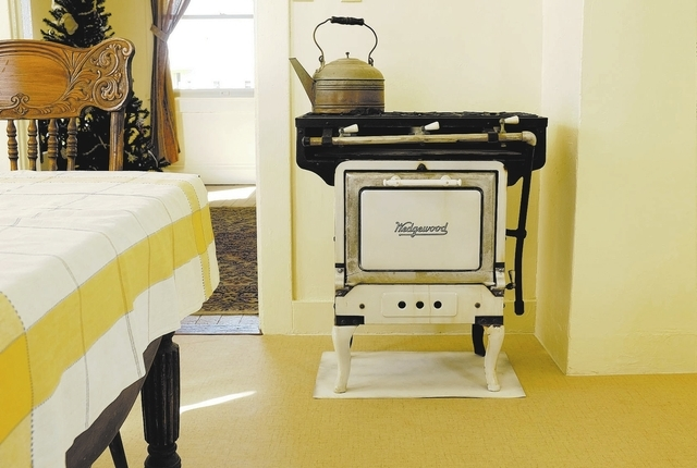 A stove and oven is on display at an old railroad cottage at the Clark County Museum in Henderson Thursday. (John Locher/Las Vegas Review-Journal)