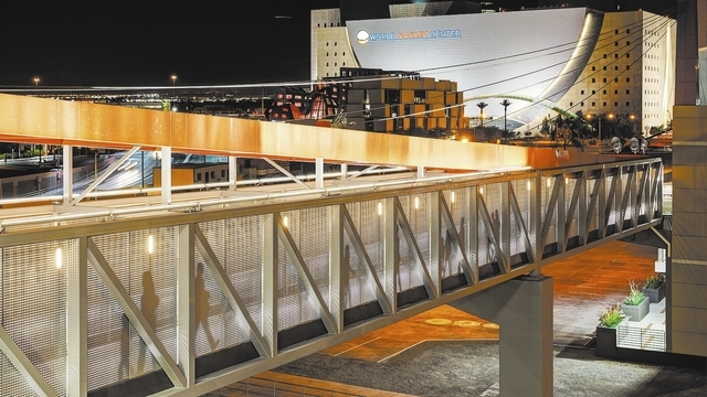 The Symphony Park Pedestrian Bridge creates an easy way for residents and visitors to walk to and from downtown and Symphony Park. On Wednesday the Las Vegas City Council unanimously approved a de ...