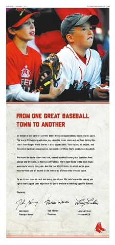 A full-page ad that the champion Boston Red Sox placed in the St. Louis Post-Dispatch is seen Tuesday, Nov. 5, 2013. The champion Red Sox are saying thank you to fans--of their World Series oppone ...