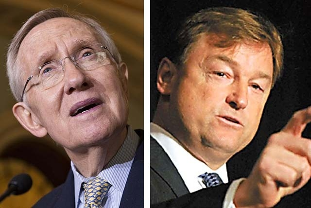 Sen. Majority Leader Harry Reid, D-Nev., left, and Sen. Dean Heller, R-Nev., both voted for a bill Thursday that would expand workplace protections to embrace gays, lesbians, bisexuals and persons ...