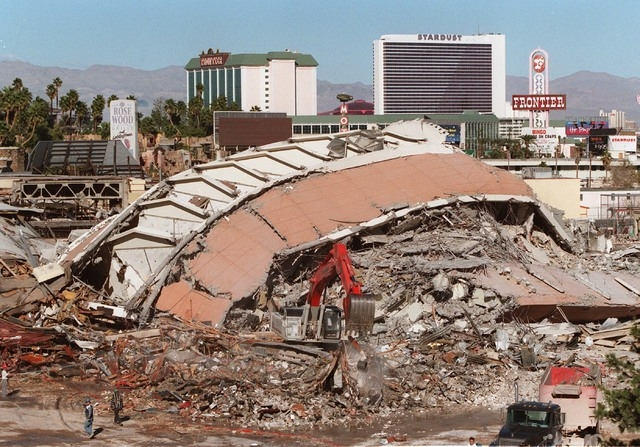 Rubble that was formerly the Sands hotel-casino is shown following being imploded, Tuesday morning, Nov. 26, 1996. (Jim Laurie/Las Vegas Review-Journal)