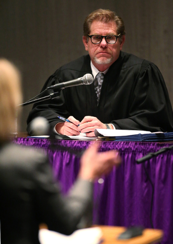 Justice Ron Parraguirre listens as attorney Kristine Brown argues before a Supreme Court panel at the Jeanne Dini Cultural Center in Yerington on Thursday. The panel met in Yerington as part of an ...