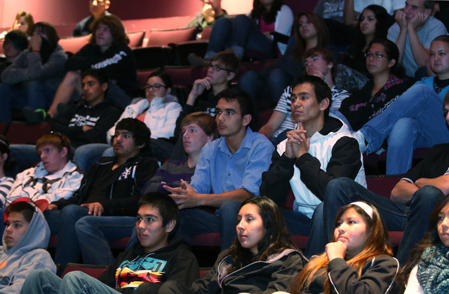 Approximately 65 seniors from Yerington High School U.S. Government classes watch a Supreme Court hearing at the Jeanne Dini Cultural Center in Yerington on Thursday. The panel met in Yerington as ...