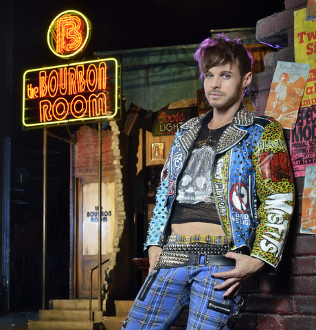"""Brandon Nix poses on stage at the """"Rock of Ages"""" Theater in The Venetian hotel-casino at 3355 Las Vegas Blvd., South, in Las Vegas on Thursday, Nov. 7, 2013. (Bill Hughes/Las Vegas Revie ..."""