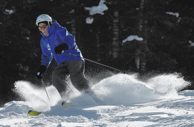 Long time ski instructor Marcel Barel takes advantage of the recent fresh snow during opening day at the Las Vegas Ski & Snowboard Resort on Mt. Charleston on Nov. 29, 2013. (Jason Bean /Las Vegas ...
